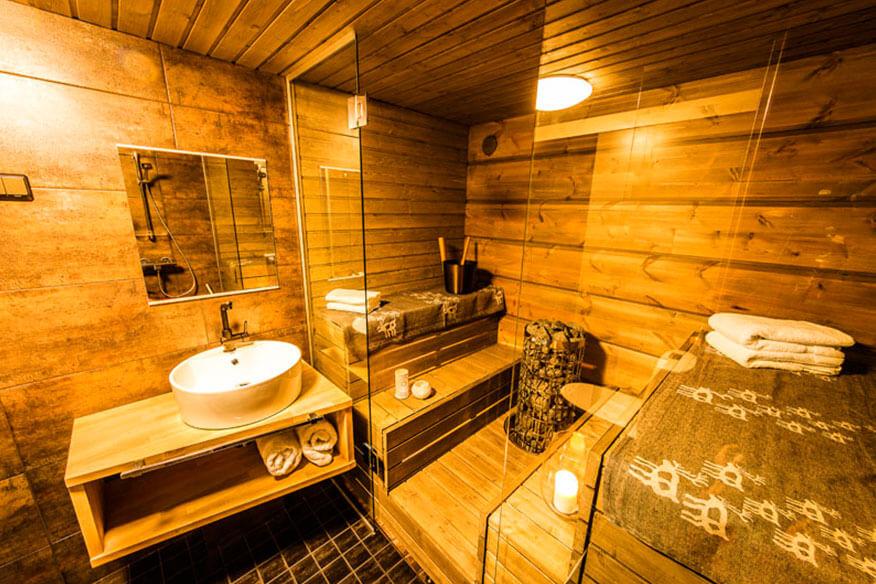 Arctic Baumhaushotel Glass House Badezimmer