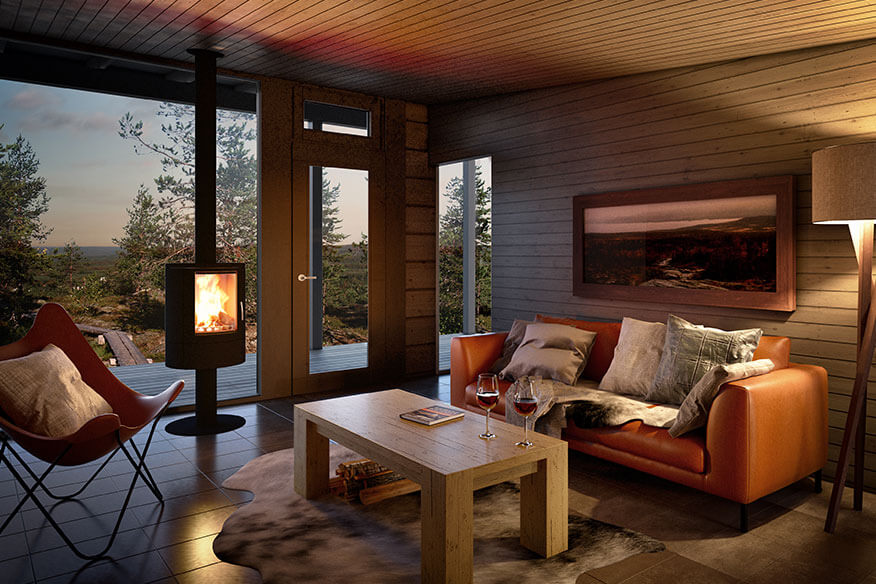 Arctic Baumhaushotel Glass House Wohnbereich