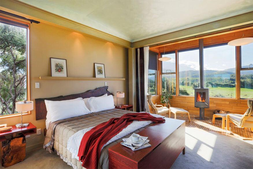 Hapuku Lodge Schlafbereich
