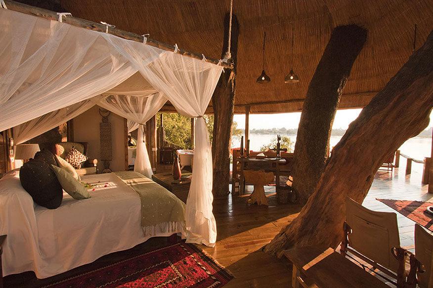 Baumhaudshotel Tongabezi Schlafbereich