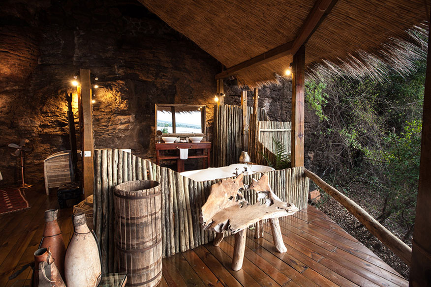 Baumhaushotel Tongabezi Badezimmer