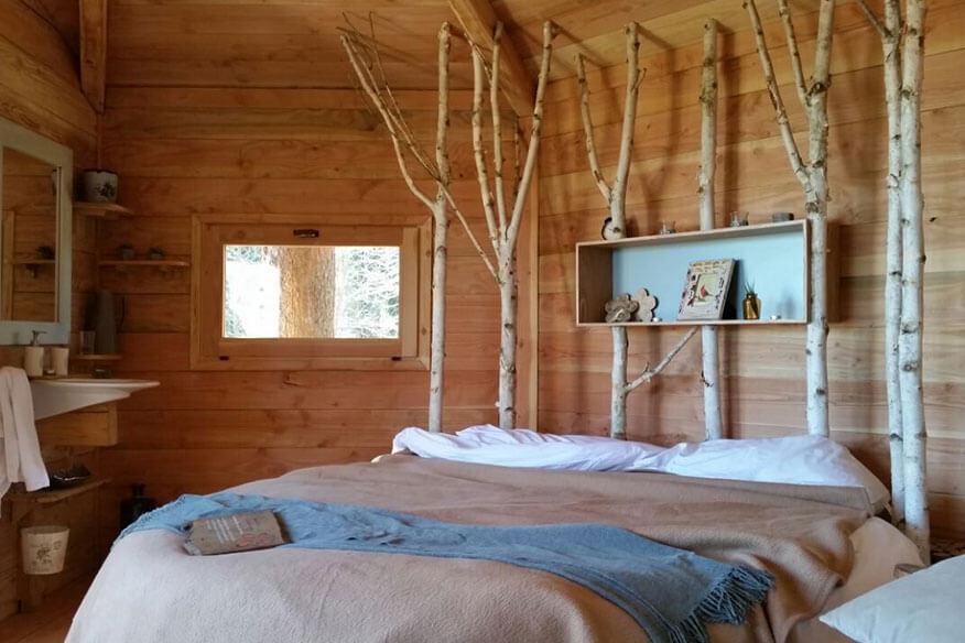 Baumhaushotel Cabanes als Arbres Schlafbereich